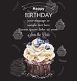 happy birthday cupcake card delicious vector image vector image