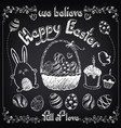 happy easter vintage poster easter elements vector image