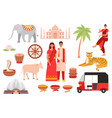 india indian culture symbols travel set with vector image vector image