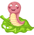 isolated cartoon worm vector image vector image