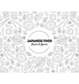 japanese food banner template with hand drawn vector image