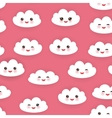Kawaii funny white clouds set muzzle with pink vector image vector image