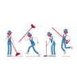male janitor sweeping the floor with a broom vector image
