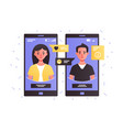 man and woman talking using smartphone vector image