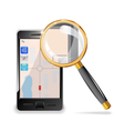 mobile phone and a magnifying glass vector image vector image