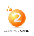 number two splash logo orange dots and bubbles vector image vector image