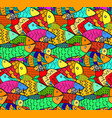 pattern with mess of cute cartoon aquarium fishes vector image
