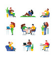 people eating male and female adults characters vector image vector image