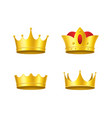 realistic detailed 3d golden crowns set vector image vector image