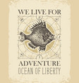retro travel banner with big fish and old map vector image vector image