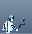 robot holding human on palm modern artificial and vector image vector image