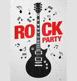 rock party flyer design template with guitar vector image