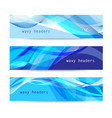 set abstract blue wavy headers vector image vector image