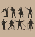 set of brown silhouettes of musicians singers and vector image vector image