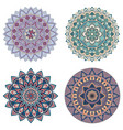 set of color floral mandalas vector image