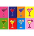 Set of Colored Hand Drawn Sketch Margarita vector image