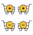 set of outline baskets with plus and minus vector image vector image