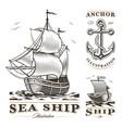 set vintage ships vector image