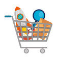 shopping cart with business icons vector image vector image