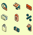 shopping color outline isometric icons vector image vector image