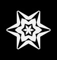 simple white snowflake icon isolated on black vector image vector image