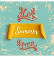Summer banner on blue grunge background vector image vector image