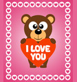 valentines day background card with bear vector image vector image