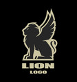 winged lion logo symbol vector image