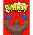 Winner in style of pop art African American boxer vector image