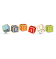 Word CREATE written with alphabet blocks vector image vector image