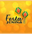 yellow shiny festa junina lamps banner vector image vector image