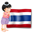 A young girl from Thailand standing in front of vector image vector image