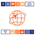 airplane fly around the planet earth logo icon vector image vector image