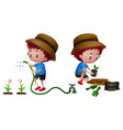 boy planting and watering plants vector image