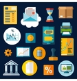 Business financial and office flat icons vector image vector image