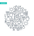 celebrating lined icons collection vector image vector image