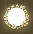 Christmas Golden Glowing Balls with Clean Card vector image vector image