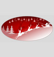christmas red background with santa claus and deer vector image vector image