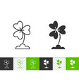 clover simple black line icon vector image vector image