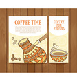 Coffee banners set with hand drawn coffee for vector image vector image