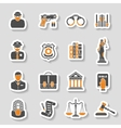 Crime and Punishment Icons Sticker Set vector image vector image