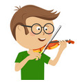 cute nerd little boy with glasses plays violin vector image vector image