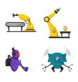 design of robot and factory icon set of vector image