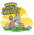 easter bunny painting egg with cartoon style vector image vector image
