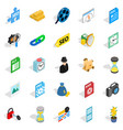 educational show icons set isometric style vector image vector image