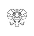 elephant head logo geometric line vector image