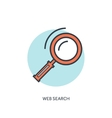 Flat lined loupe icon Web search vector image vector image
