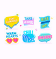 good vibes motivation icons set isolated on white vector image vector image