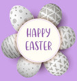 happy easter eggs with text white eggs with vector image vector image