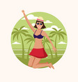 happy woman at beach vector image vector image